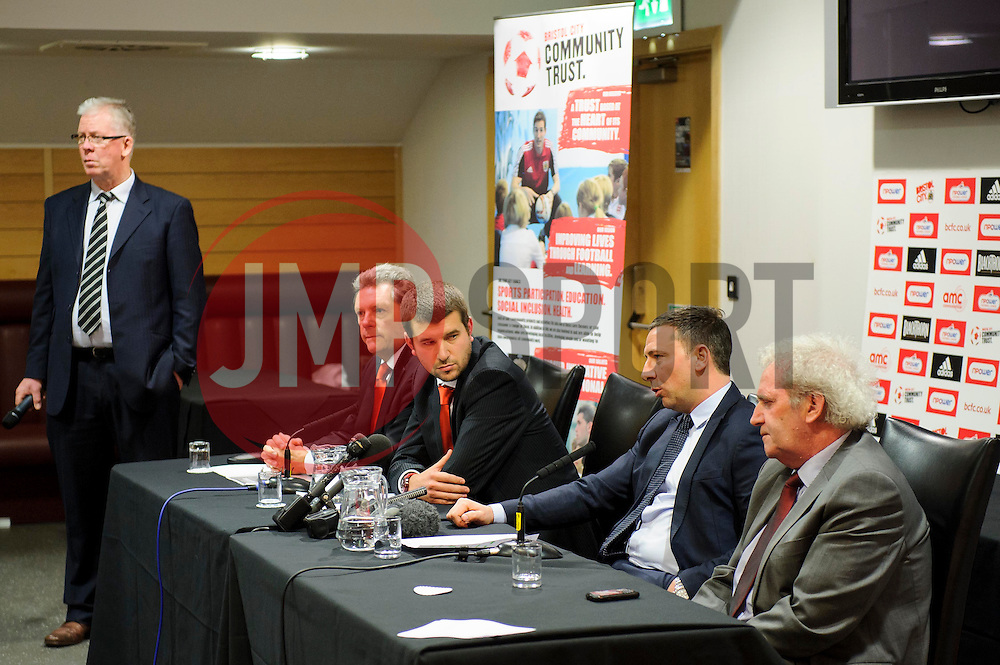 A view of the top table as Fans put questions to Bristol City club representatives (L-R Director Doug Harman, Football Managing Director Jon Lansdown, Manager Derek McInnes (SCO) and Chairman Keith Dawe) at the clubs Annual Supporters Meeting held in the AMC Communications Lounge - Photo mandatory by-line: Rogan Thomson/JMP - Tel: Mobile: 07966 386802 06/12/2012 - SPORT - FOOTBALL - Ashton Gate - Bristol - Club AGM.