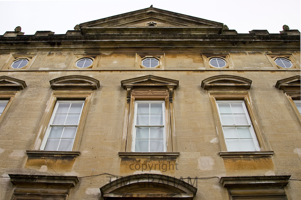 Front elevation of a house in Burford in the Cotswolds, Oxfordshire, UK