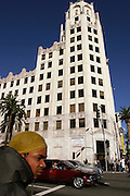 The building that was used as the offices of Daily Planet newspaper in the film Superman. On Hollywood Blv.