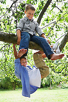 Two boys (7-9) playing on tree branch
