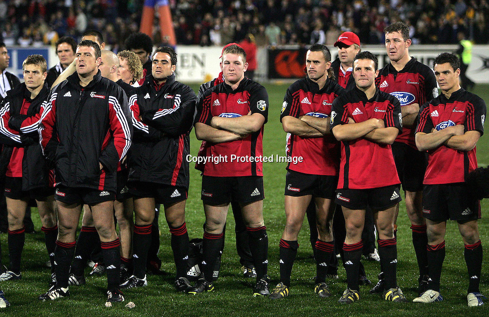 22 May, 2004. Super 12 Final, Canberra Stadium, Canberra ACT, Australia.<br /> Dejected Team.<br /> The Brumbies defeated the Crusaders  48-37<br /> Please credit: Andrew Cornaga/Photosport