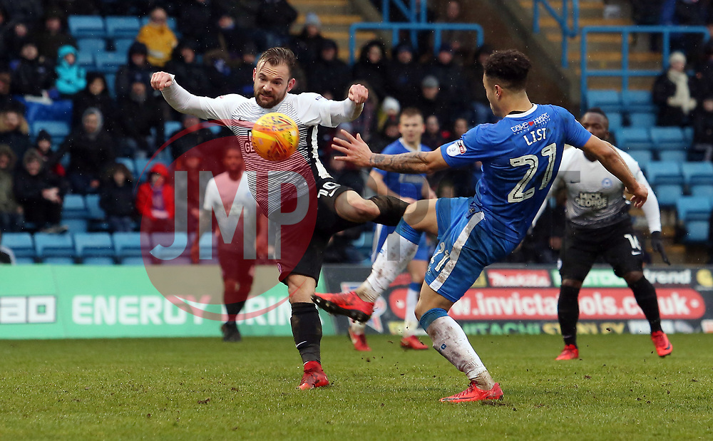 Danny Lloyd of Peterborough United scores his sides opening goal of the game - Mandatory by-line: Joe Dent/JMP - 10/02/2018 - FOOTBALL - MEMS Priestfield Stadium - Gillingham, England - Gillingham v Peterborough United - Sky Bet League One
