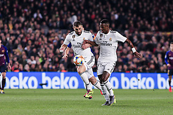 February 6, 2019 - Barcelona, Spain - 09 Karim Benzema of Real Madrid and 28 Vinicius of Real Madrid during the semi-final first leg of Spanish King Cup / Copa del Rey football match between FC Barcelona and Real Madrid on 04 of February of 2019 at Camp Nou stadium in Barcelona, Spain  (Credit Image: © Xavier Bonilla/NurPhoto via ZUMA Press)
