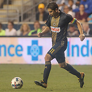 Philadelphia Union Midfielder ALEJANDRO BEDOYA (11) celebrates a goal in the second half of a Major League Soccer match between the Philadelphia Union and Columbus Crew SC Wednesday, July. 26, 2017, at Talen Energy Stadium in Chester, PA.