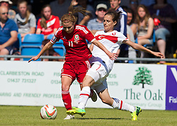 HAVERFORDWEST, WALES - Saturday, June 14, 2014: Wales' Sarah Wiltshire in action against Turkey during the FIFA Women's World Cup Canada 2015 Qualifying Group 6 match at the Bridge Meadow Stadium. (Pic by David Rawcliffe/Propaganda)