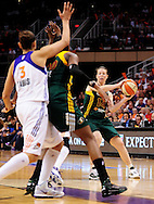 Sep 17, 2011; Phoenix, AZ, USA; Seattle Storm guard Katie Smith (14) handles the ball against the Phoenix Mercury during the second half at the US Airways Center.  The Mercury defeated the Storm 92 - 83. Mandatory Credit: Jennifer Stewart-US PRESSWIRE