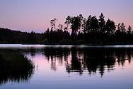 Dawn over forest trees at Manzanita Lake, Lassen Volcanic National Park, California