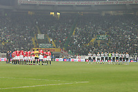 "PORTUGAL - LISBOA 08 JANUARY 2005: The two squads held a minute of silence in memory of the Southeast Asia Tsunami victims  in the 16¼ leg of the Super Liga, season 2004/2005, match  Sporting CP vs SL Benfica (2 - 1), held in ""Alvalade XXI"" stadium,  08/01/2005  21:49:51<br />