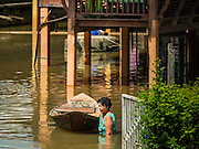 30 SEPTEMBER 2016 - SAI NOI, AYUTTHAYA, THAILAND: A woman pulls her boat through flood waters in Sai Noi on the Chao Phraya River. The Chao Phraya River, the largest river that runs through central Thailand, has hit flood stage in several areas in Ayutthaya and Ang Thong provinces. Villages along the river are flooded and farms are losing their crops due to the flood. This is the same area that was devastated by floods in 2011, but the floods this year are not expected to be as severe. The floods are being fed by water released from upstream dams. The water is being released to make room for heavy rains expected in October.      PHOTO BY JACK KURTZ