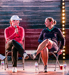 Pictured: Fringe by the Sea, North Berwick, East Lothian, Scotland, United Kingdom, 06 August 2019. Top female golfers competing in the Aberdeen Standard Investments Ladies Scottish Open this week appear on a panel and take questions from the audience, as part of a podcast called On the Dance Floor. Pictured: from L to R  Caroline Masson (Germany), Angela Stanford (USA).<br /> <br /> Sally Anderson | EdinburghElitemedia.co.uk