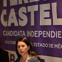 Toluca, México.- (Abril 04, 2017).- La primera mujer candidata por la vía independiente, María Teresa Castell, a la gubernatura del Estado de México exhortó a ejercer su voto para hacer frente a los partidos políticos tradicionales, y pide dos años para cambiar al Edomex. Agencia MVT / Crisanta Espinosa.