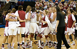 March 29, 2010; Sacramento, CA, USA; The Stanford Cardinal celebrate at the end of the game against the Xavier Musketeers in the finals of the Sacramental regional in the 2010 NCAA womens basketball tournament at ARCO Arena. Stanford defeated Xavier 55-53.