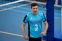 20-01-2019 NED: Talent Team Papendal - Achterhoek Orion, Ede<br /> Round 14 of Eredivisie volleyball. Orion win 3-01 of Talent Team / Markus Held #3 of Talent Team