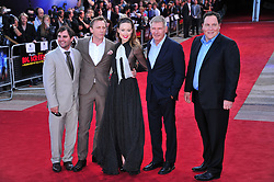 © Licensed to London News Pictures. 11/08/2011. London, England. Daniel Craig  Olivia Wilde Harrison Ford and director Jon Favreau attends the U.K premiere of Cowboys and Aliens Starring Harrison Ford and Daniel Craig at the O2 Cineworld London Photo credit : ALAN ROXBOROUGH/LNP