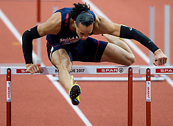 Pascal Martinot-Lagarde of France competes in the 60m Hurdles Men Heats on day one of the 2017 European Athletics Indoor Championships at the Kombank Arena on March 3, 2017 in Belgrade, Serbia. Photo by Vid Ponikvar / Sportida
