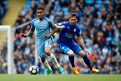 Gabriel Jesus of Manchester City and Christian Fuchs of Leicester City - Mandatory by-line: Matt McNulty/JMP - 13/05/2017 - FOOTBALL - Etihad Stadium - Manchester, England - Manchester City v Leicester City - Premier League