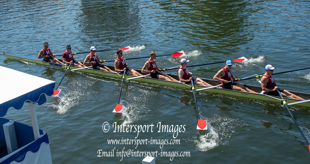 Henley on Thames, England, United Kingdom, Thursday, 04.07.19, Harvard University, U.S.A., past the Finish Line, winning their Heat, against University of Bristol, in the Temple Challenge Cup, Henley Royal Regatta,  Henley Reach, [©Karon PHILLIPS/Intersport Images]<br /> <br /> 14:06:36 1919 - 2019, Royal Henley Peace Regatta Centenary,