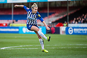 Emily Simpkins (Brighton & Hove) attempt at goal during the FA Women's Super League match between Brighton and Hove Albion Women and Arsenal Women FC at The People's Pension Stadium, Crawley, England on 12 January 2020.