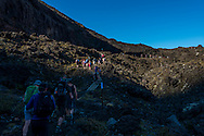 The start of the hill climb with many steps. Tongariro Alpine Crossing