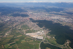 Ljubljana, Capital city of Slovenia from air, on August 2, 2010. (Photo by Vid Ponikvar / Sportida)