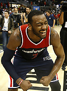 ATLANTA, GA - APRIL 28:  Guard John Wall #2 of the Washington Wizards celebrates after Game Six of the Eastern Conference Quarterfinals against the Atlanta Hawks at Philips Arena on April 28, 2017 in Atlanta, Georgia.  (Photo by Mike Zarrilli/Getty Images)