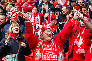 Sholing fans during the FA Vase match at Wembley Stadium, London<br /> Picture by David Horn/Focus Images Ltd +44 7545 970036<br /> 10/05/2014