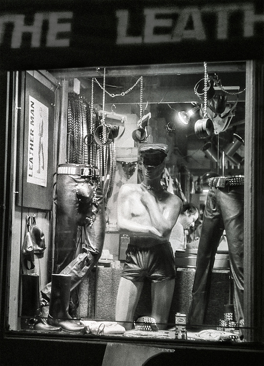 First gay apparel and accessories shop in SoHo. Leather Man store in prime location in SoHo, New York City. Featured leather  clothing and accessories for the gay community. LGBT. New York City. 1957