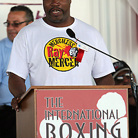 """Merciless"" Ray Mercer addresses the crowd during the 23rd Annual induction weekend opening ceremony at the International Boxing Hall of Fame on Thursday, June 7, 2012 in Canastota, NY. (AP Photo/Alex Menendez)"