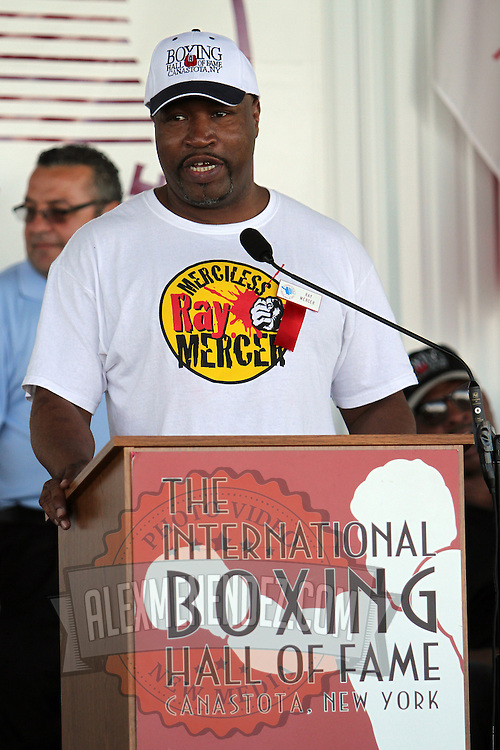 """""""Merciless"""" Ray Mercer addresses the crowd during the 23rd Annual induction weekend opening ceremony at the International Boxing Hall of Fame on Thursday, June 7, 2012 in Canastota, NY. (AP Photo/Alex Menendez)"""