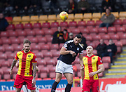 17th February 2018, Firhill Stadium, Glasgow, Scotland; Scottish Premier League Football, Partick Thistle versus Dundee; Steven Caulker of Dundee heads clear