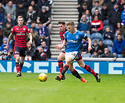 7th April 2018, Ibrox Stadium, Glasgow, Scotland; Scottish Premier League football, Rangers versus Dundee; Greg Docherty of Rangers  and Lewis Spence of Dundee