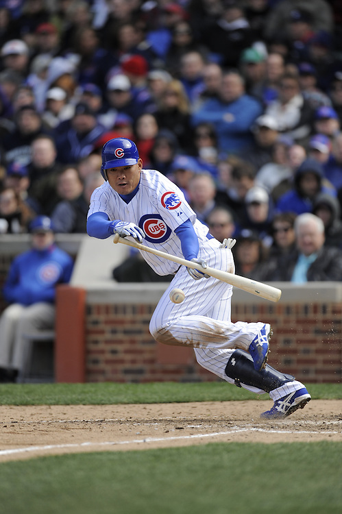 CHICAGO - APRIL 15:  Kosuke Fukudome #12 of the Chicago Cubs bunts during the game against the Colorado Rockies on April 15, 2009 at Wrigley Field in Chicago, Illinois.  The Rockies defeated the Cubs 5-2.  (Photo by Ron Vesely)