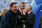 Manchester United Manager Ole Gunnar Solskjaer shares a laugh during the Champions League quarter-final leg 2 of 2 match between Barcelona and Manchester United at Camp Nou, Barcelona, Spain on 16 April 2019.