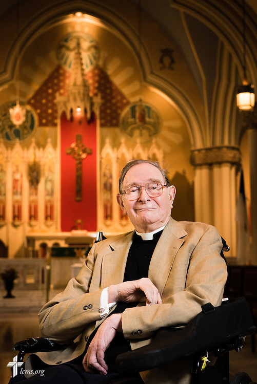 Portrait of the Rev. Dr. Norman Nagel on Wednesday, August 26, 2015, at the historic chapel of Laclede Groves in Webster Groves, Mo. LCMS Communications/Erik M. Lunsford