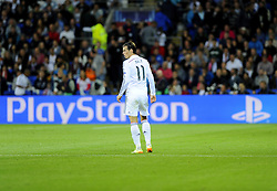 Real Madrid's Gareth Bale in front of the Play Station advert - Photo mandatory by-line: Joe Meredith/JMP - Mobile: 07966 386802 12/08/2014 - SPORT - FOOTBALL - Cardiff - Cardiff City Stadium - Real Madrid v Sevilla - UEFA Super Cup