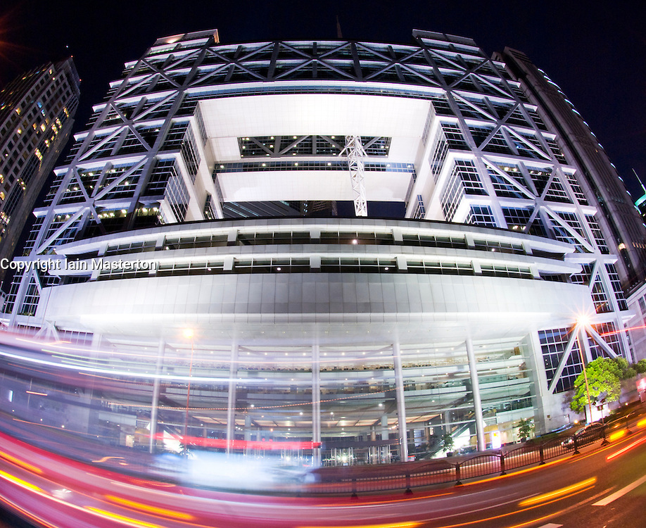 Night view of Shanghai Stock Exchange building in Pudong financial district of Shanghai