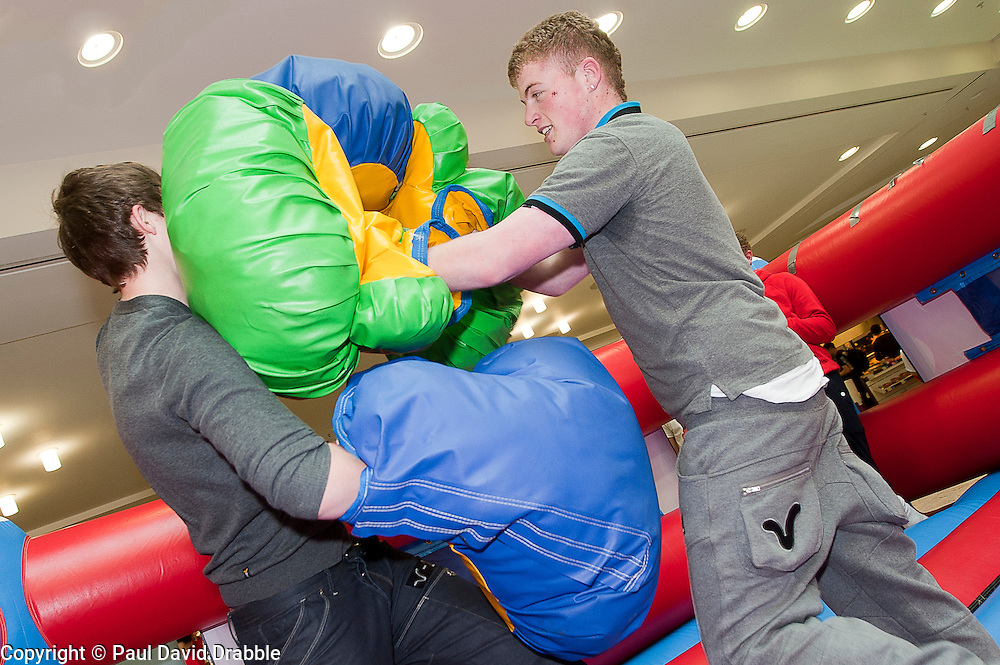 """James Blogg and Lewis McGinty at the launch of the """"Winning The Fight For Breath  with COPD Campaign"""" in Meadowhall Shopping Centre Sheffield on Saturday 18th February 2012..www.pauldaviddrabble.co.uk..18th February 2012 -  Image © Paul David Drabble"""
