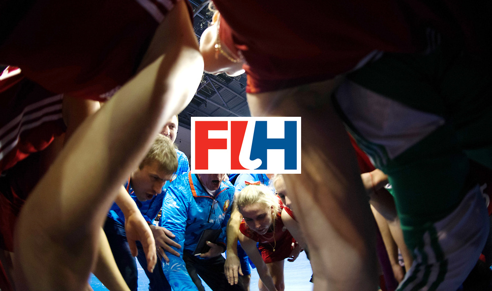 BERLIN - Indoor Hockey World Cup<br /> Quarterfinal 1: Belarus - Australia<br /> foto: Herman Kruis and his team celebrate.<br /> WORLDSPORTPICS COPYRIGHT FRANK UIJLENBROEK