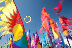 North America, USA, Washington, Long Beach. Kites spinning, Washington State Kite Festival
