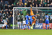 Kyle Letheren (21) of Plymouth Argyle gets his finger tips to a cross during the EFL Sky Bet League 1 match between Plymouth Argyle and Portsmouth at Home Park, Plymouth, England on 9 February 2019.