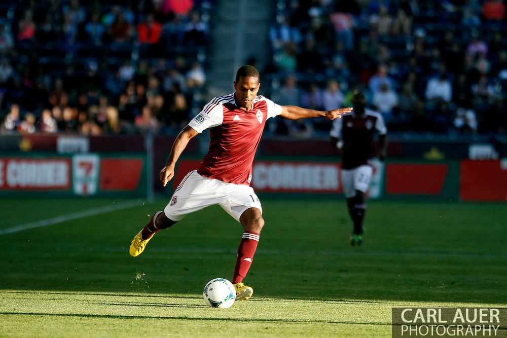 June 1st, 2013 - Colorado Rapids midfielder Atiba Harris (16) attempts a pass in the first half of action in the MLS match between FC Dallas and the Colorado Rapids at Dick's Sporting Goods Park in Commerce City, CO