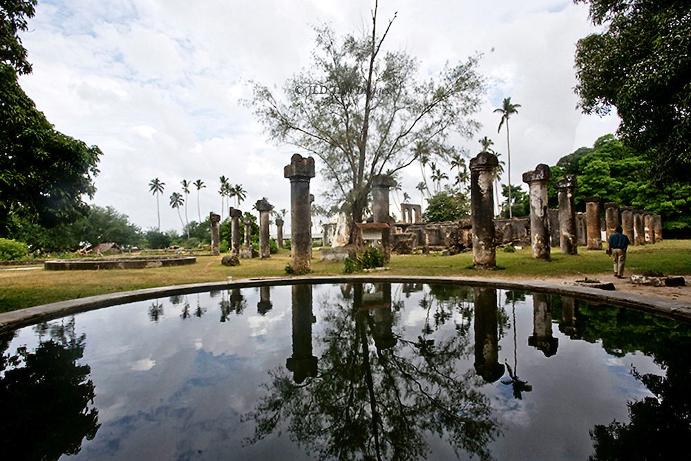 Ruins of Maruhubi Palace, built by Sultan Barghash in 1882. H ruled from 1870-1888. A reflecting pool shows some of the ruins.