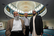 L-R Imam Mohammad Siddique with Trustees Mumtaz Hussain Shah and Alzul Haque from Acton Mosque, London 2008.