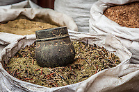 Large sacks of spices, teas and herbs availabe for sale at small shops near Boudhanath, Kathmandu Nepal.