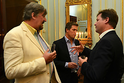 © Licensed to London News Pictures. 11/09/2012. London, UK L-R Stephen Fry, Hugh Grant, Nick Clegg.  Nick Clegg makes a speech at a reception to celebrate the Governments Consultation on Gay Marriage. Today, 11 September 2012. Photo credit : Stephen Simpson/LNP