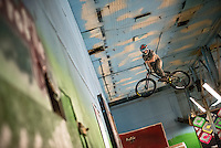 CLEVELAND - JANUARY 30:  Adam Alman competes in Ray's Indoor Mountain Bike Park rookie of the year contest Saturday, January 30, 2016. (Photo by Bryan Mitchell)