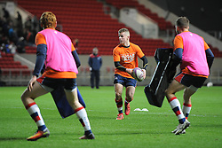 Billy Searle of Bristol Rugby wears a Sugar Smart shirt during warm-up - Mandatory by-line: Paul Knight/JMP - 13/01/2017 - RUGBY - Ashton Gate - Bristol, England - Bristol Rugby v Bath Rugby - European Challenge Cup