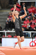 Sam Kendricks (USA) celebrates after winning the pole vault at 18-9¼ (5.72m) during the Bauhaus-Galan in a IAAF Diamond League meet at Stockholm Stadium in Stockholm, Sweden on Thursday, May 30, 2019. (Jiro Mochizuki/Image of Sport)