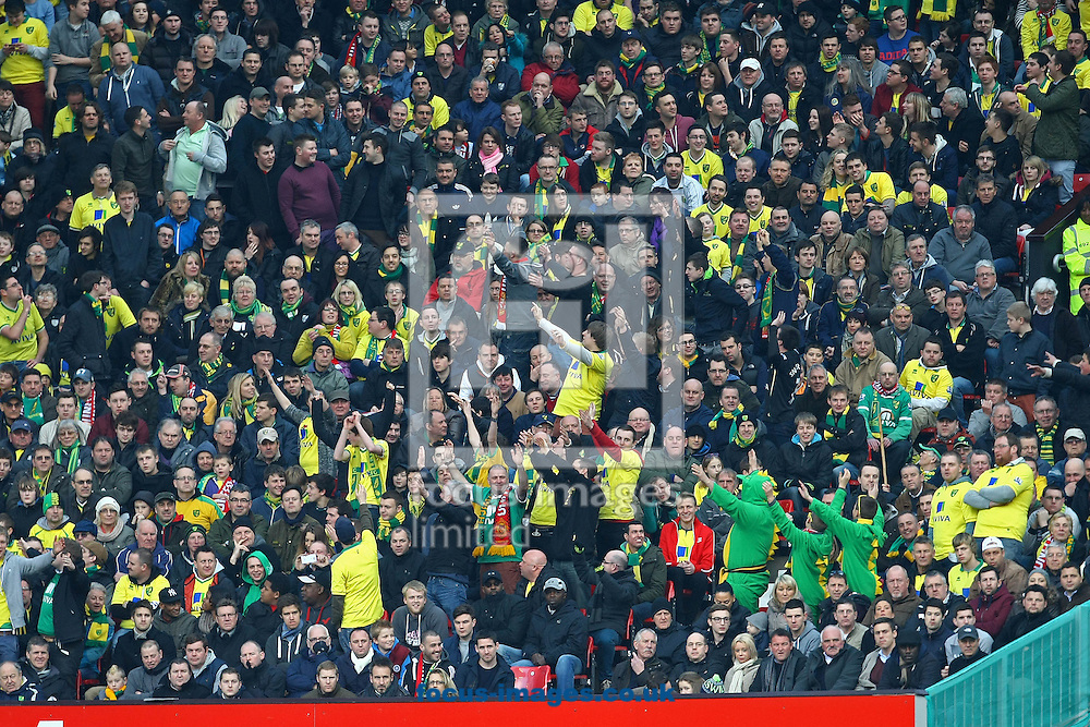 Picture by Paul Chesterton/Focus Images Ltd +44 7904 640267.02/03/2013.The Norwich fans enjoy their day in Manchester during the Barclays Premier League match at Old Trafford, Manchester.