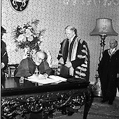 1961 - Patrician Year celebrations: Cardinal Legate recieves degrees at Dublin Castle
